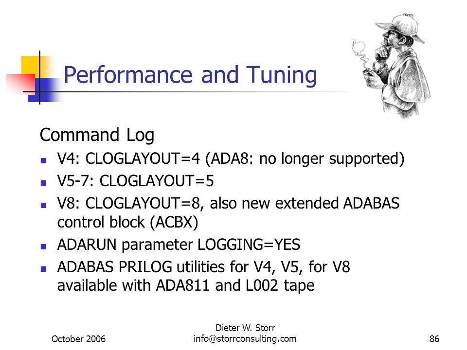 October 2006 Dieter W. Storr info@storrconsulting.com86 Performance and Tuning Command Log V4: CLOGLAYOUT=4 (ADA8: no longer supported) V5-7: CLOGLAYO