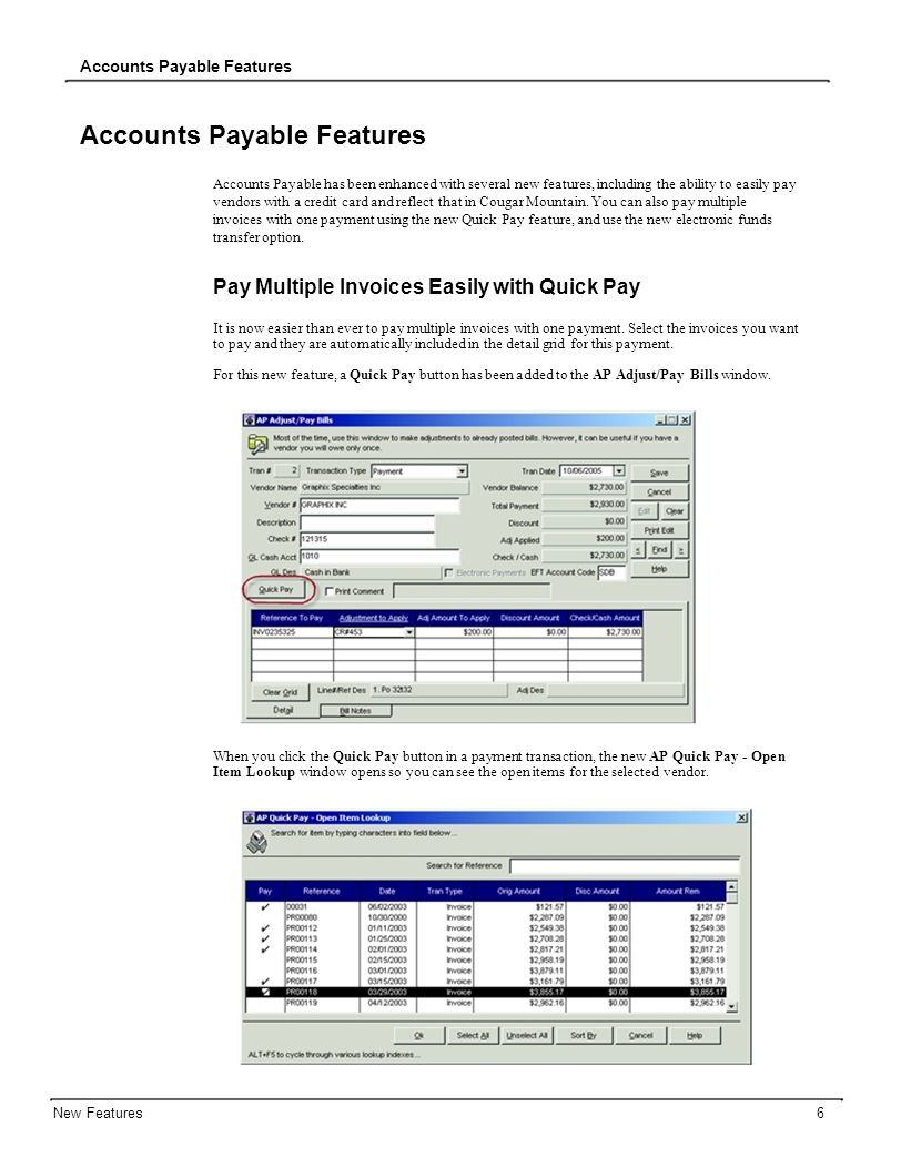 Accounts Payable Features Accounts Payable has been enhanced with several new features, including the ability to easily pay vendors with a credit card and reflect that in Cougar Mountain.