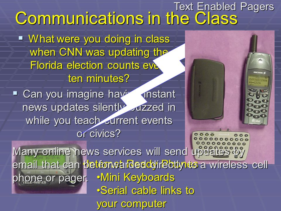 Communications in the Class What were you doing in class when CNN was updating the Florida election counts every ten minutes? What were you doing in c