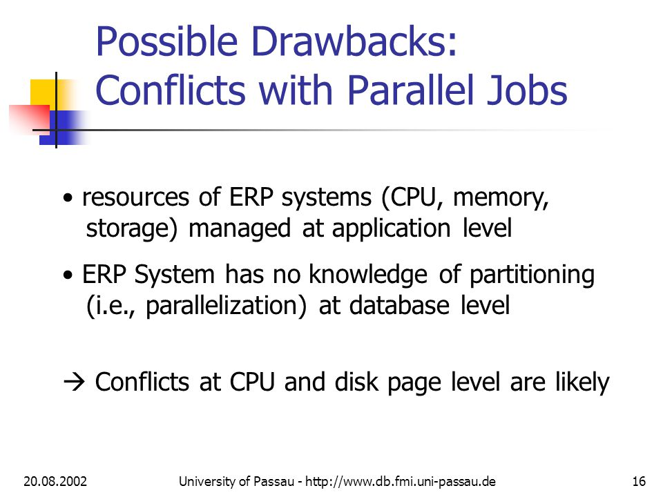 20.08.2002University of Passau - http://www.db.fmi.uni-passau.de16 Possible Drawbacks: Conflicts with Parallel Jobs resources of ERP systems (CPU, memory, storage) managed at application level ERP System has no knowledge of partitioning (i.e., parallelization) at database level Conflicts at CPU and disk page level are likely
