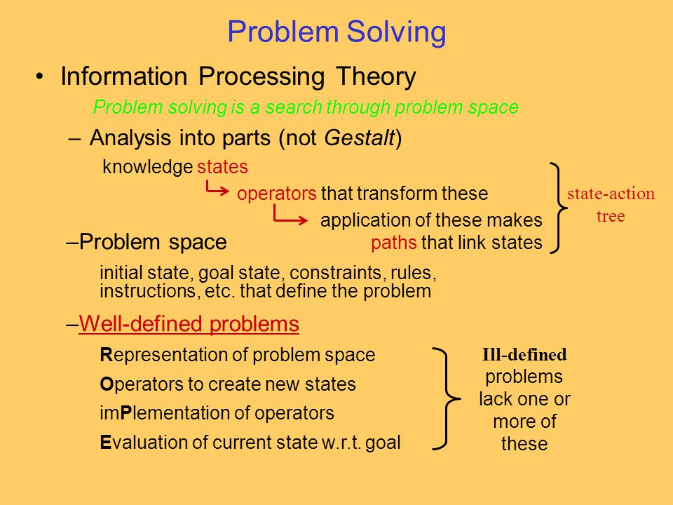 –Problem space initial state, goal state, constraints, rules, instructions, etc. that define the problem –Well-defined problemsWell-defined problems R