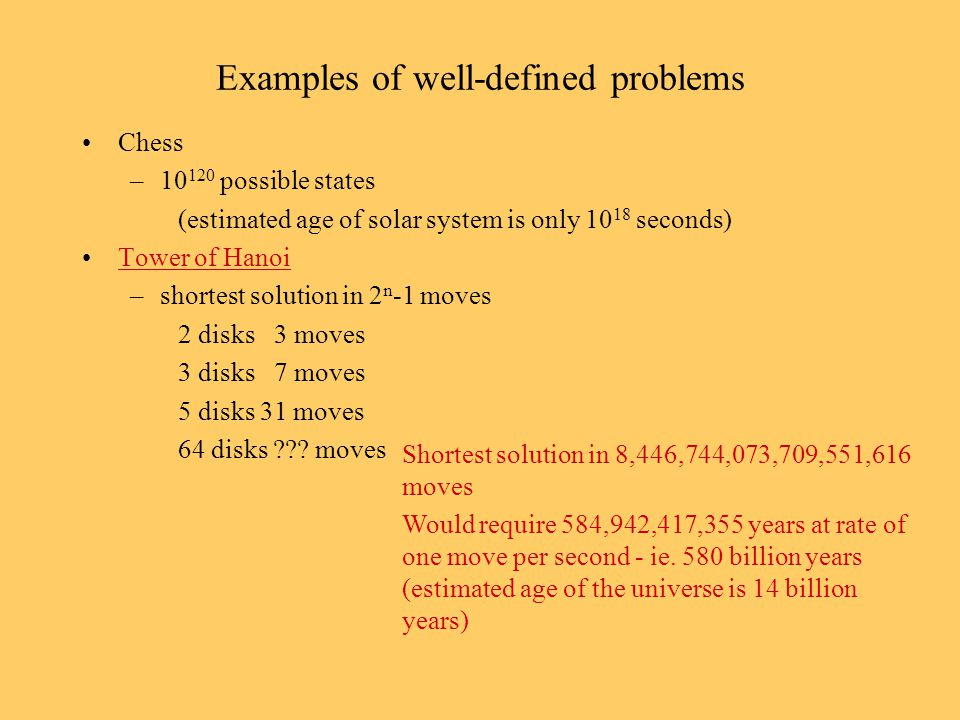 Examples of well-defined problems Chess –10 120 possible states (estimated age of solar system is only 10 18 seconds) Tower of Hanoi –shortest solutio