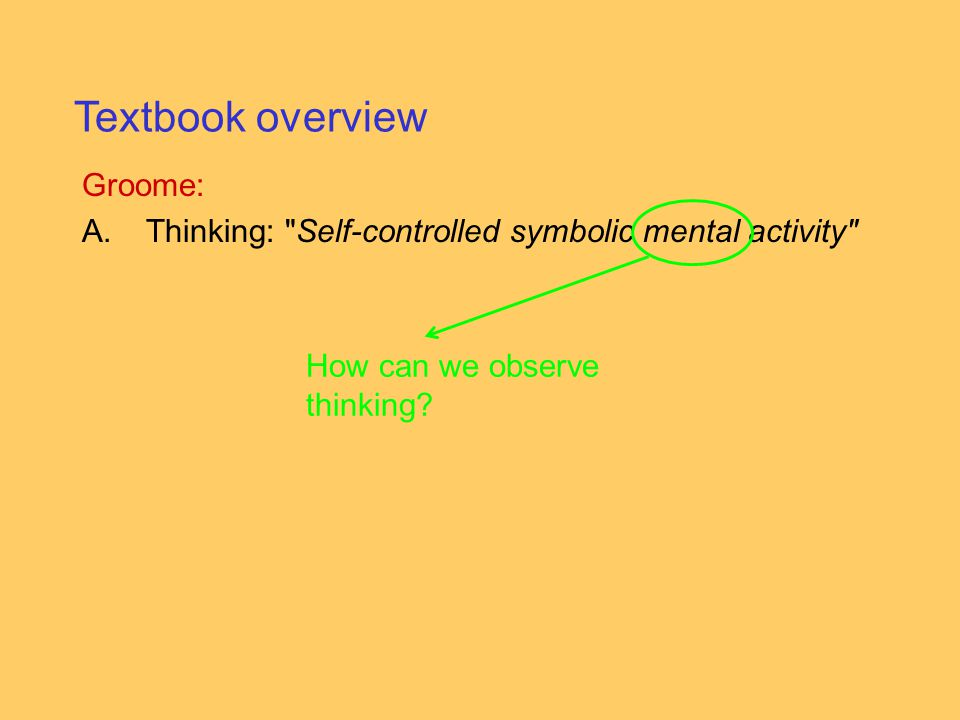 Groome: A.Thinking: Self-controlled symbolic mental activity Textbook overview How can we observe thinking?