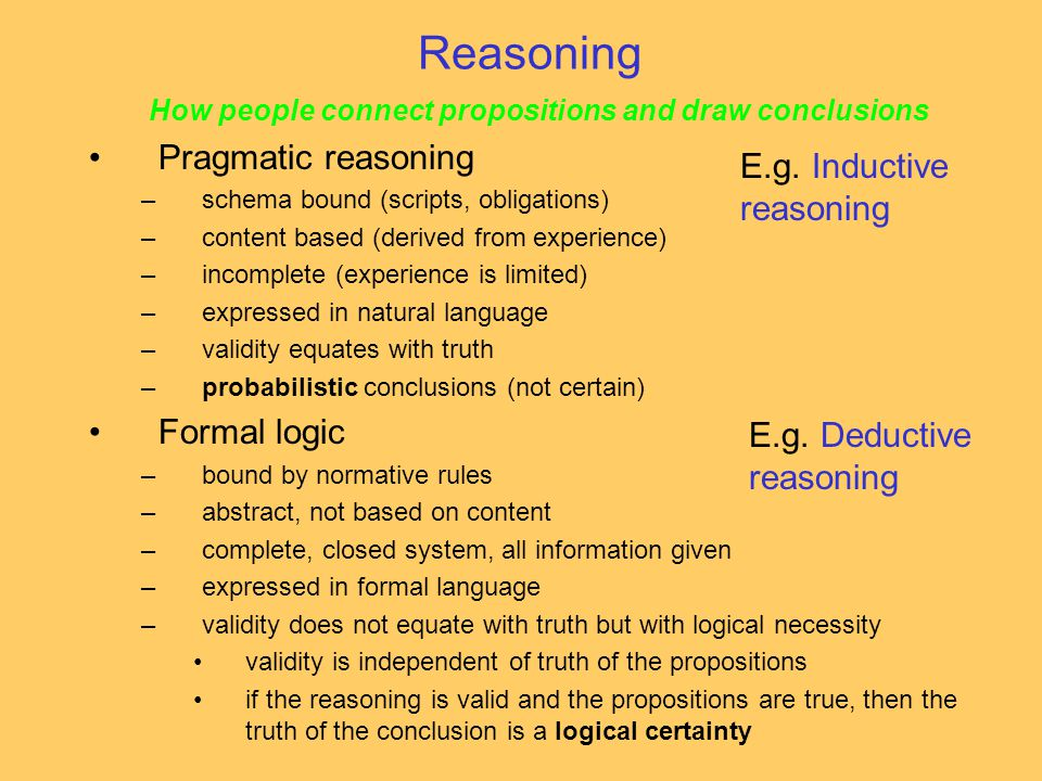 How people connect propositions and draw conclusions Pragmatic reasoning –schema bound (scripts, obligations) –content based (derived from experience) –incomplete (experience is limited) –expressed in natural language –validity equates with truth –probabilistic conclusions (not certain) Formal logic –bound by normative rules –abstract, not based on content –complete, closed system, all information given –expressed in formal language –validity does not equate with truth but with logical necessity validity is independent of truth of the propositions if the reasoning is valid and the propositions are true, then the truth of the conclusion is a logical certainty Reasoning E.g.