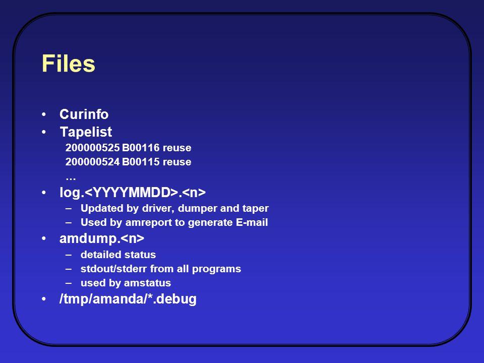 Files Curinfo Tapelist 200000525 B00116 reuse 200000524 B00115 reuse … log..