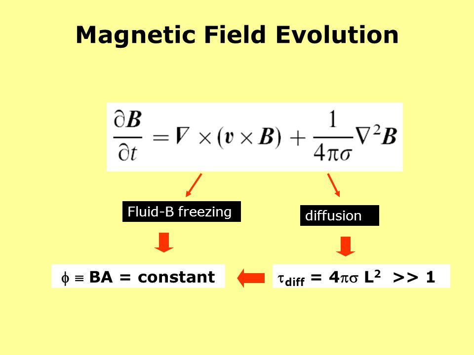 Magnetic Field Evolution Fluid-B freezing diffusion diff = 4 L 2 >> 1 BA = constant