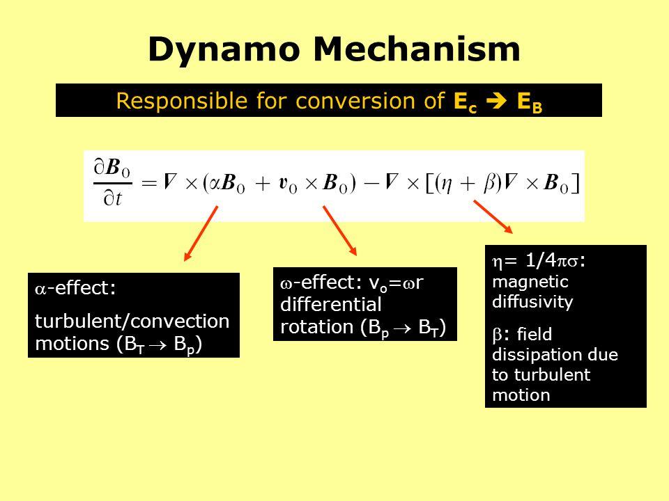 Dynamo Mechanism Responsible for conversion of E c E B -effect: turbulent/convection motions (B T B p ) -effect: v o =r differential rotation (B p B T