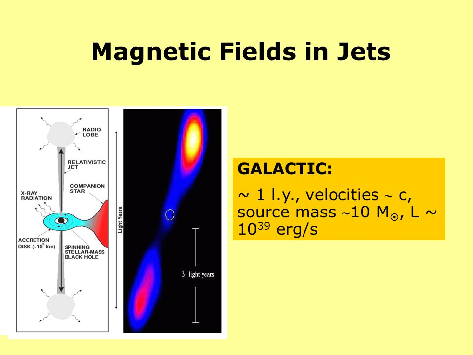 Magnetic Fields in Jets GALACTIC: ~ 1 l.y., velocities c, source mass 10 M, L ~ 10 39 erg/s