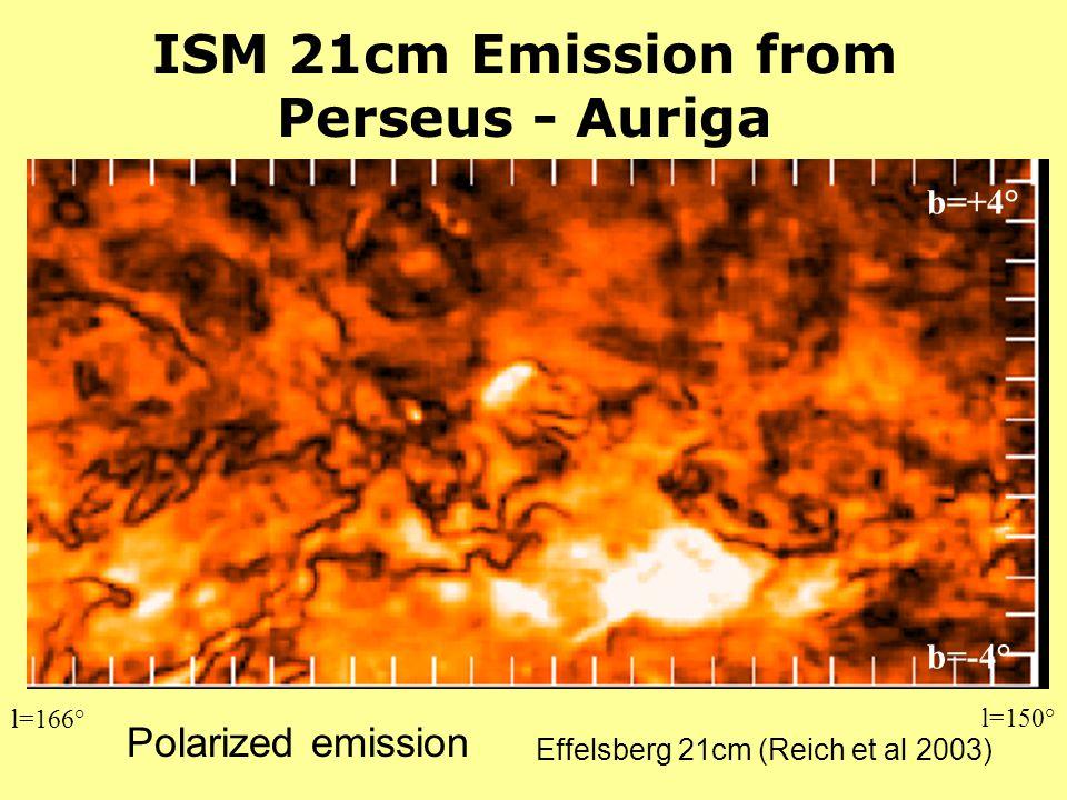 Effelsberg 21cm (Reich et al 2003) ISM 21cm Emission from Perseus - Auriga Polarized emission l=166° l=150° b=-4° b=+4°