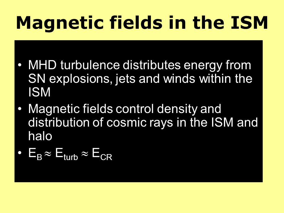 Magnetic fields in the ISM MHD turbulence distributes energy from SN explosions, jets and winds within the ISM Magnetic fields control density and dis