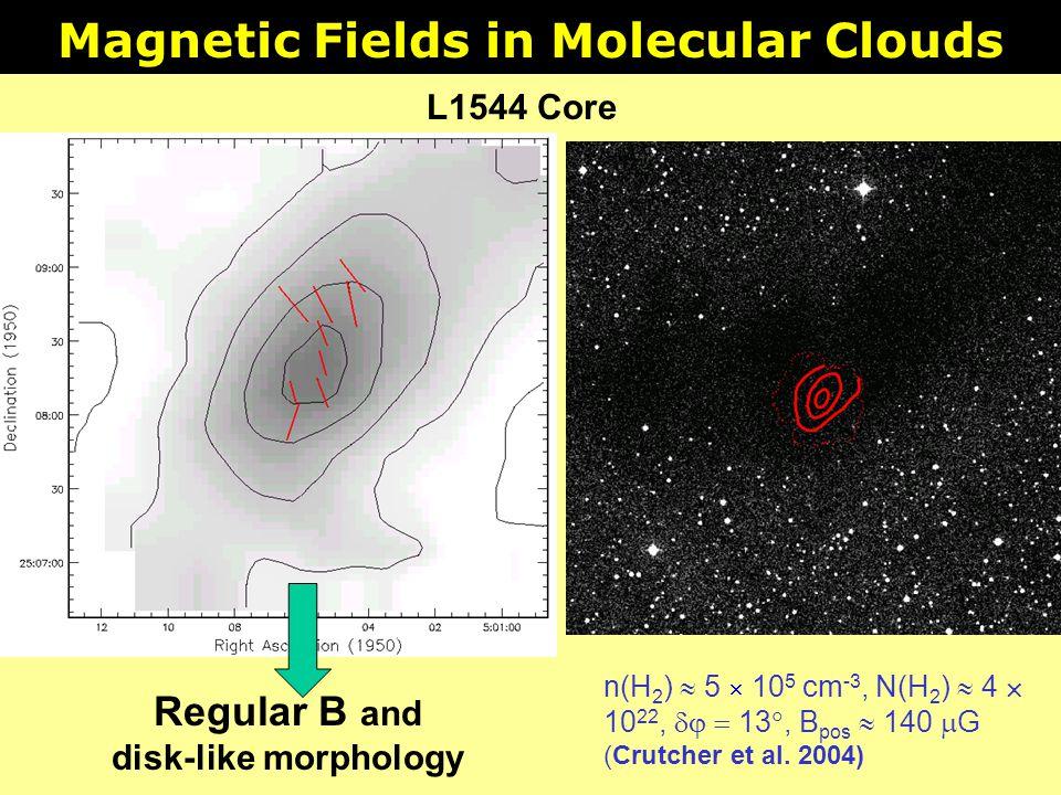 Magnetic Fields in Molecular Clouds n(H 2 ) 5 10 5 cm -3, N(H 2 ) 4 10 22, 13, B pos 140 G (Crutcher et al. 2004) Regular B and disk-like morphology L