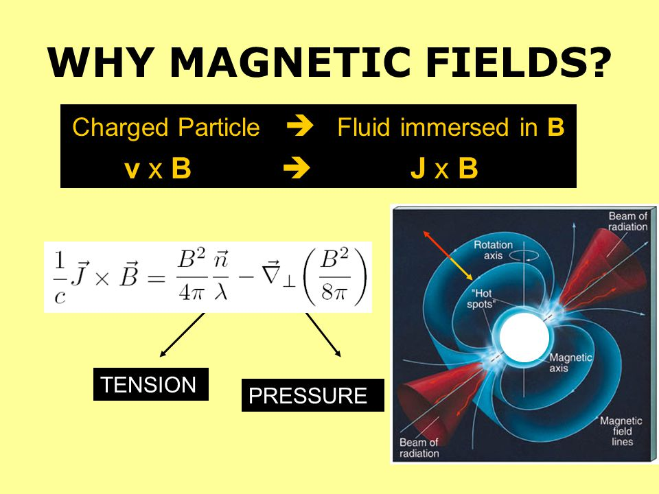 WHY MAGNETIC FIELDS? Charged Particle Fluid immersed in B v x B J x B