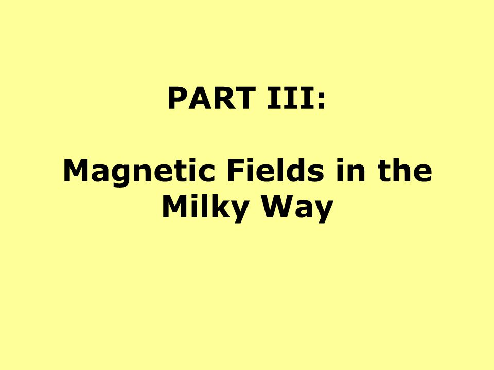 PART III: Magnetic Fields in the Milky Way