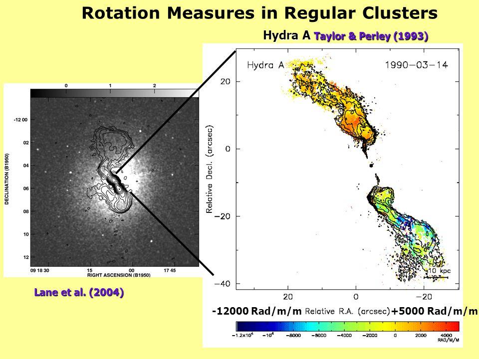 Rotation Measures in Regular Clusters -12000 Rad/m/m+5000 Rad/m/m Hydra A Taylor & Perley (1993) Lane et al. (2004)