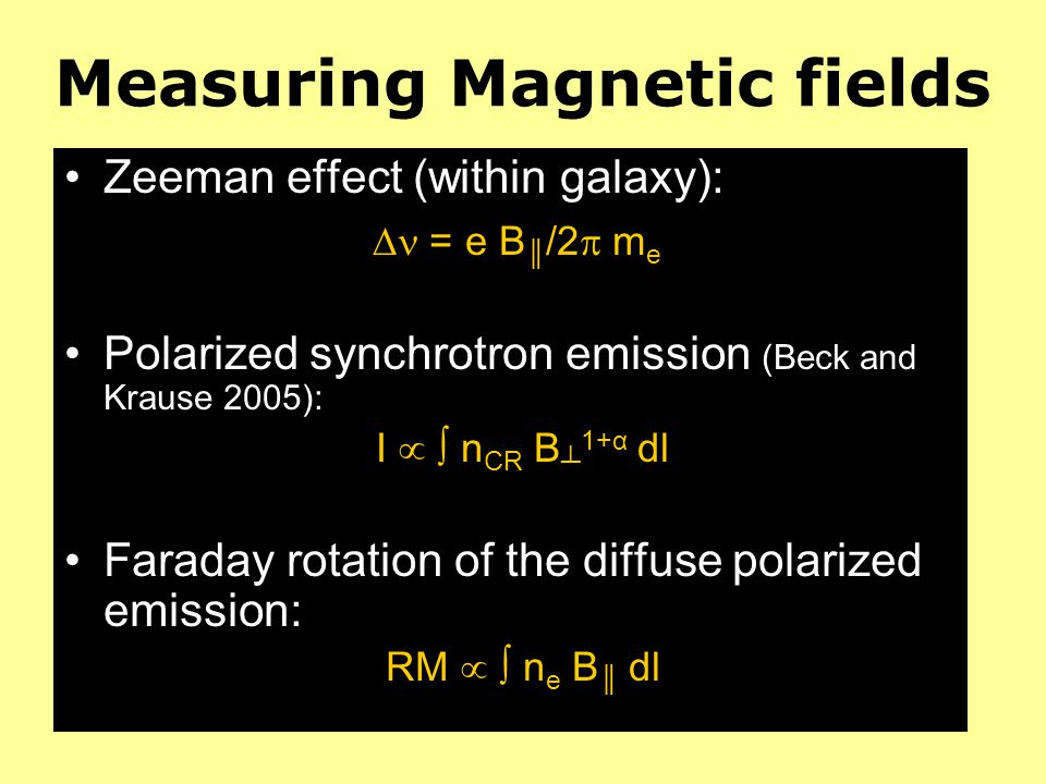 Magnetic fields in IGM B probably pervades entire Universe IGM: rarefied ionized gas and coherence L of B poorly known Faraday rotation of polarized emission from distant quasars (up to z=2.5): B IGM 10 -9 G, for L 1 Mpc