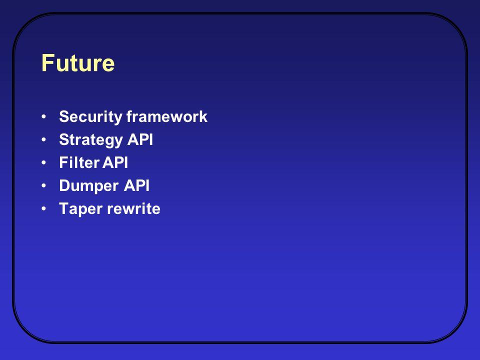 Future Security framework Strategy API Filter API Dumper API Taper rewrite