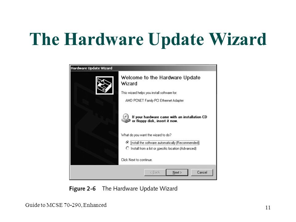 Guide to MCSE 70-290, Enhanced 11 The Hardware Update Wizard