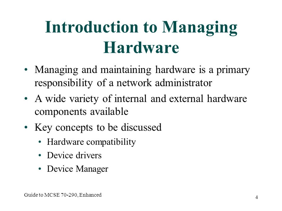 Guide to MCSE 70-290, Enhanced 45 Activity 2-8: Creating a Hardware Profile Objective is to create a new hardware profile for a set of hardware devices Start My Computer Properties Hardware tab Hardware Profiles Follow directions to create a new profile with no CD-ROM drive or floppy drive Test that devices are disabled when using new profile