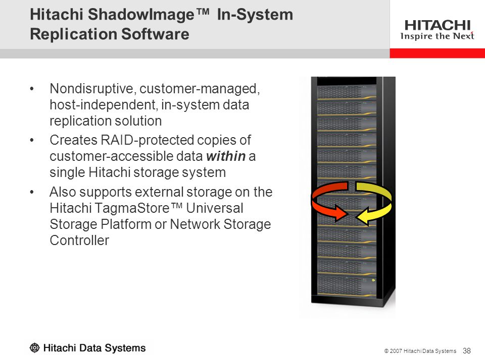 38 © 2007 Hitachi Data Systems Hitachi ShadowImage In-System Replication Software Nondisruptive, customer-managed, host-independent, in-system data re