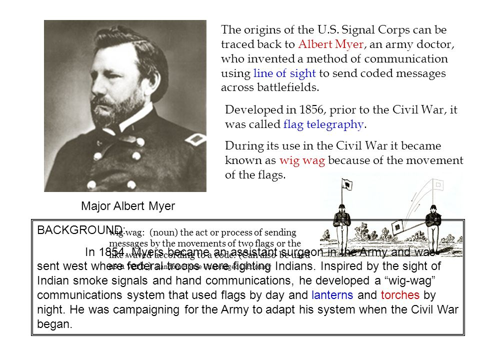 By the end of the war the US Signal Corps numbered some 300 officers and 2,500 men.