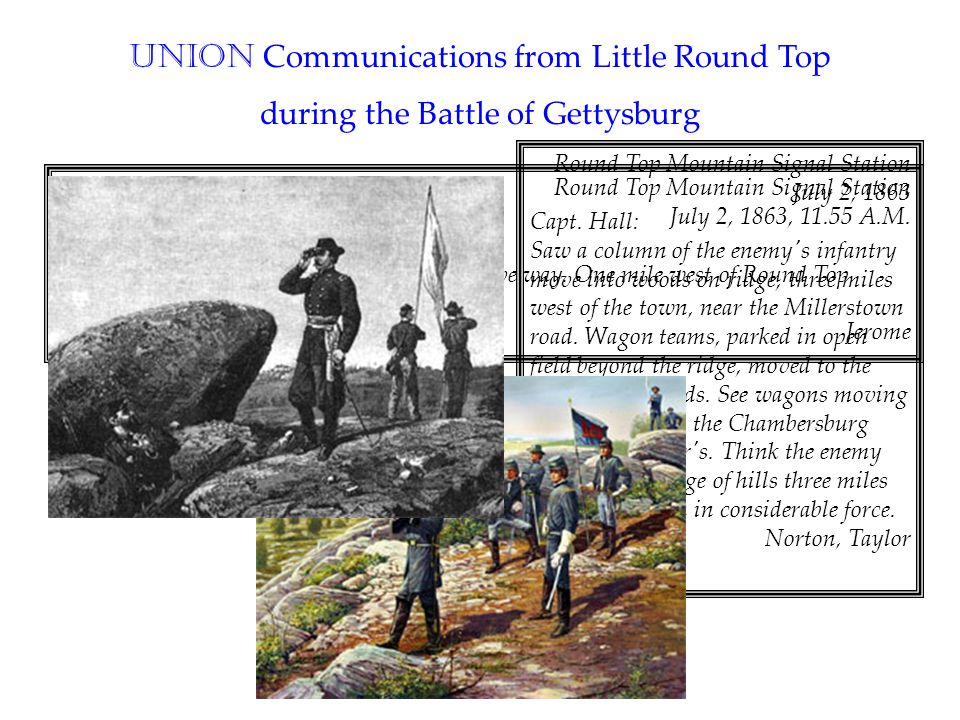 Round Top Mountain Signal Station July 2, 1863, 11.55 A.M. General Butterfield: The rebels are in force, and our skirmishers give way. One mile west o