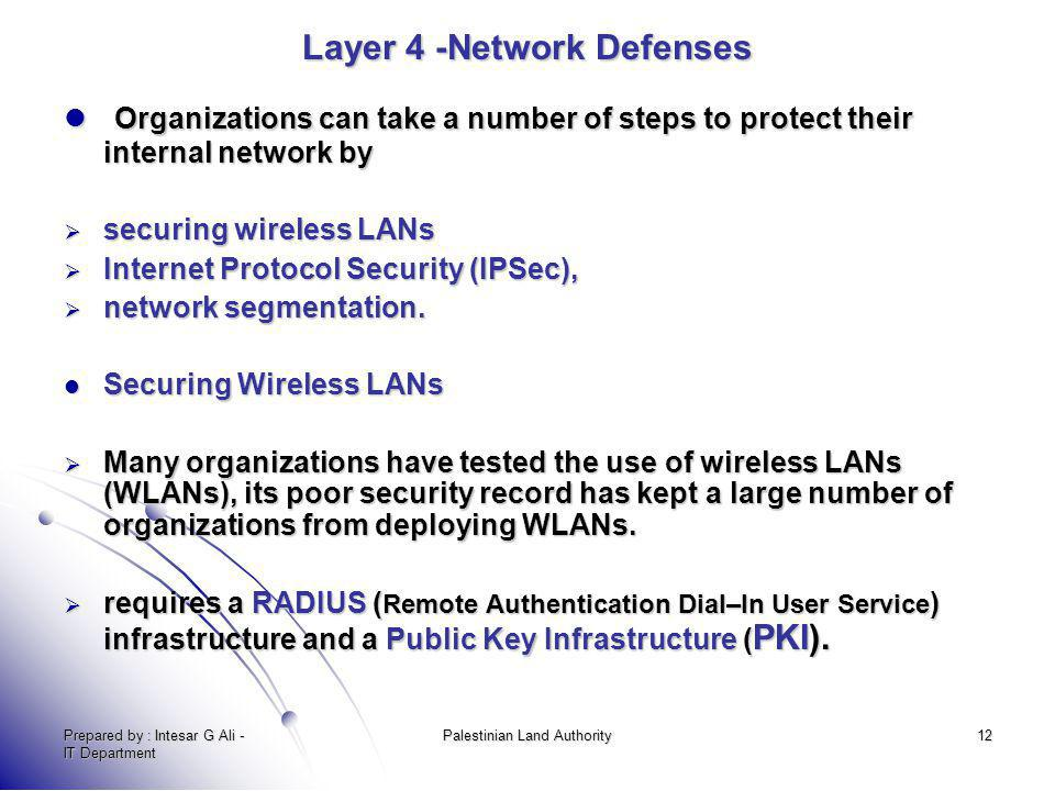 Prepared by : Intesar G Ali - IT Department Palestinian Land Authority12 Layer 4 -Network Defenses Organizations can take a number of steps to protect
