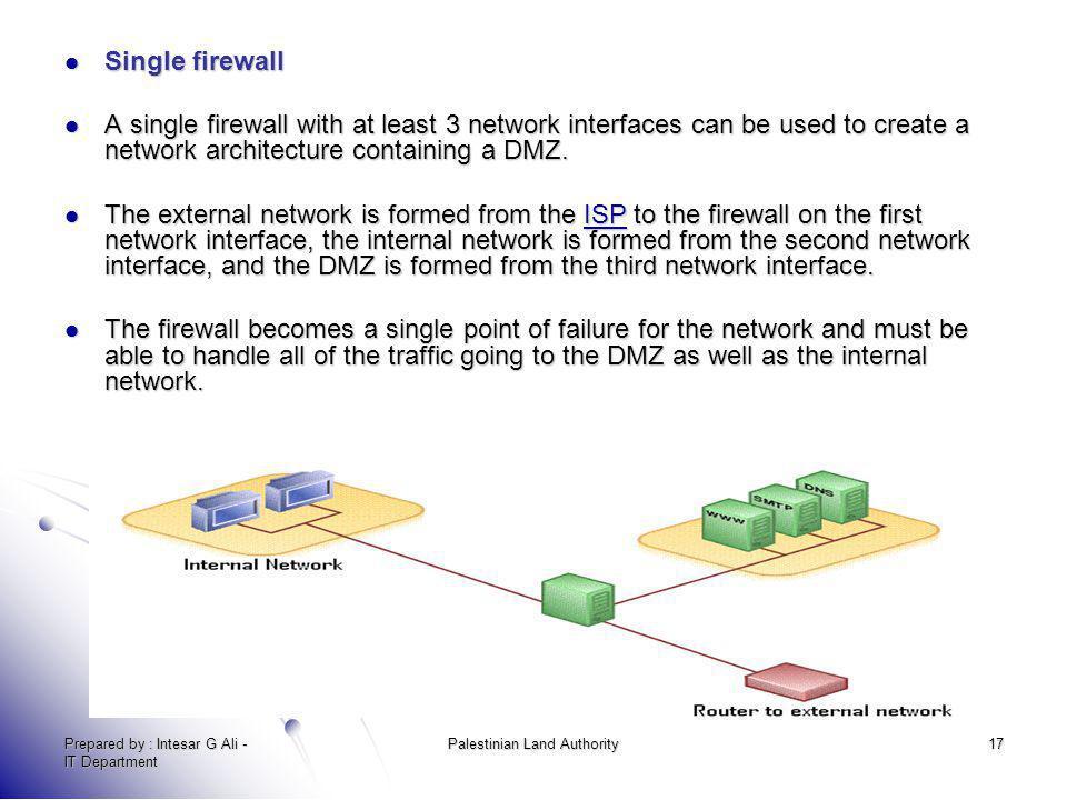 Prepared by : Intesar G Ali - IT Department Palestinian Land Authority17 Single firewall Single firewall A single firewall with at least 3 network int