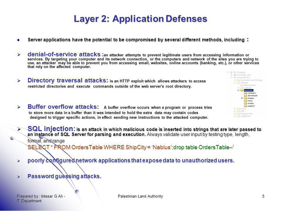 Prepared by : Intesar G Ali - IT Department Palestinian Land Authority5 Layer 2: Application Defenses Server applications have the potential to be com