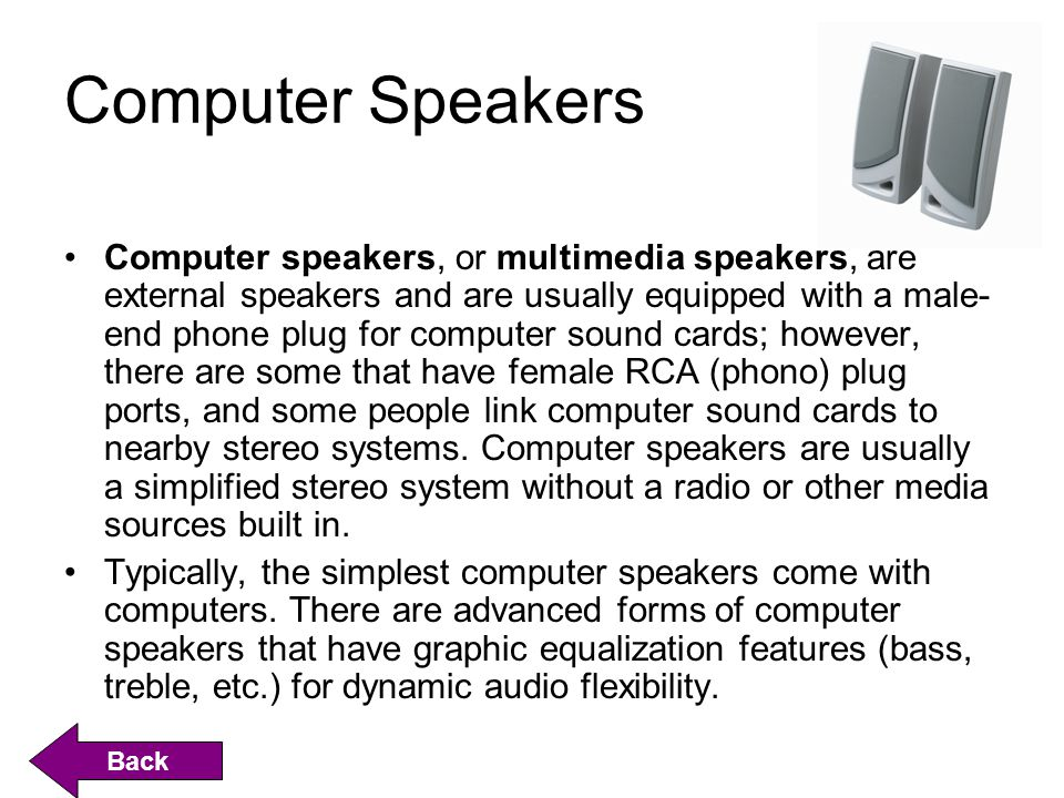 Computer Speakers Computer speakers, or multimedia speakers, are external speakers and are usually equipped with a male- end phone plug for computer sound cards; however, there are some that have female RCA (phono) plug ports, and some people link computer sound cards to nearby stereo systems.