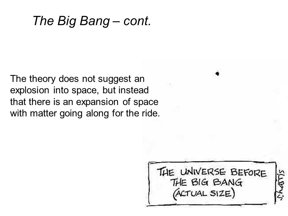 Models of the Universe – cont. Big Bang Theory - States that the universe began as a point and has been expanding ever since
