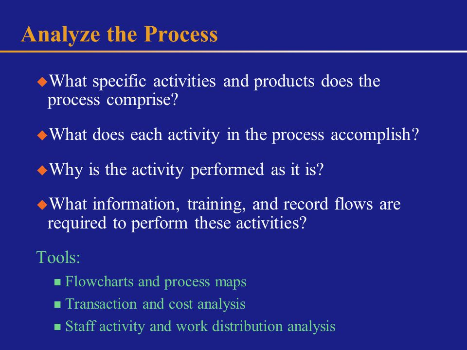 Analyze the Process What specific activities and products does the process comprise.