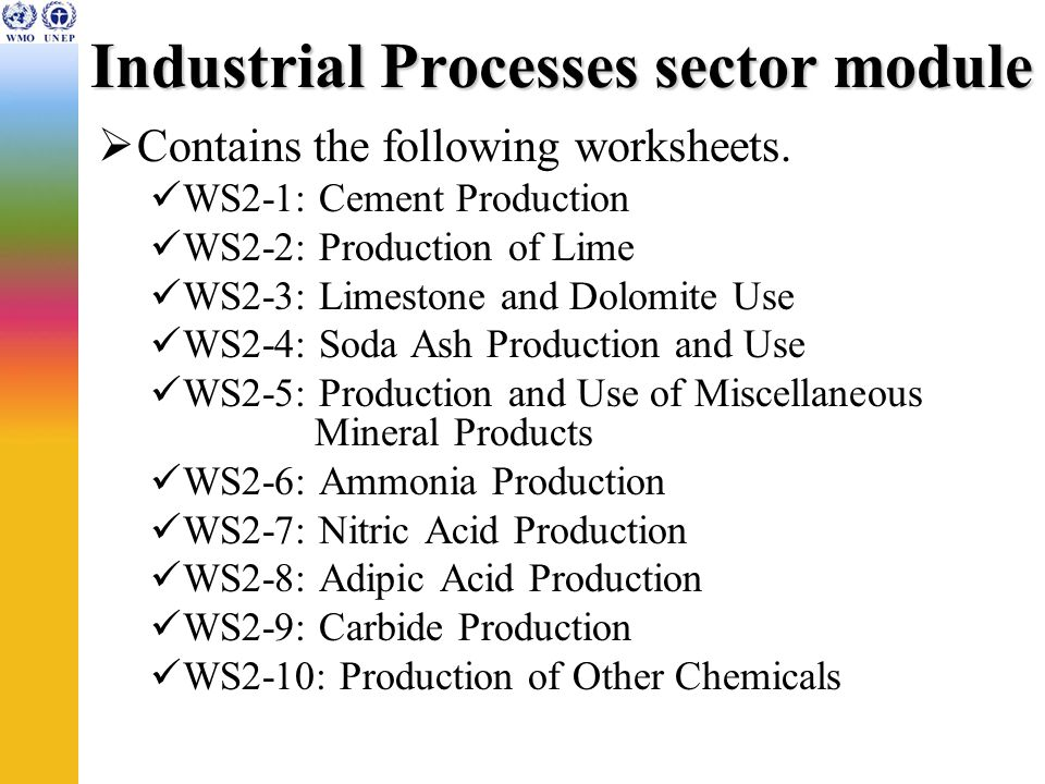 Industrial Processes sector module Contains the following worksheets.
