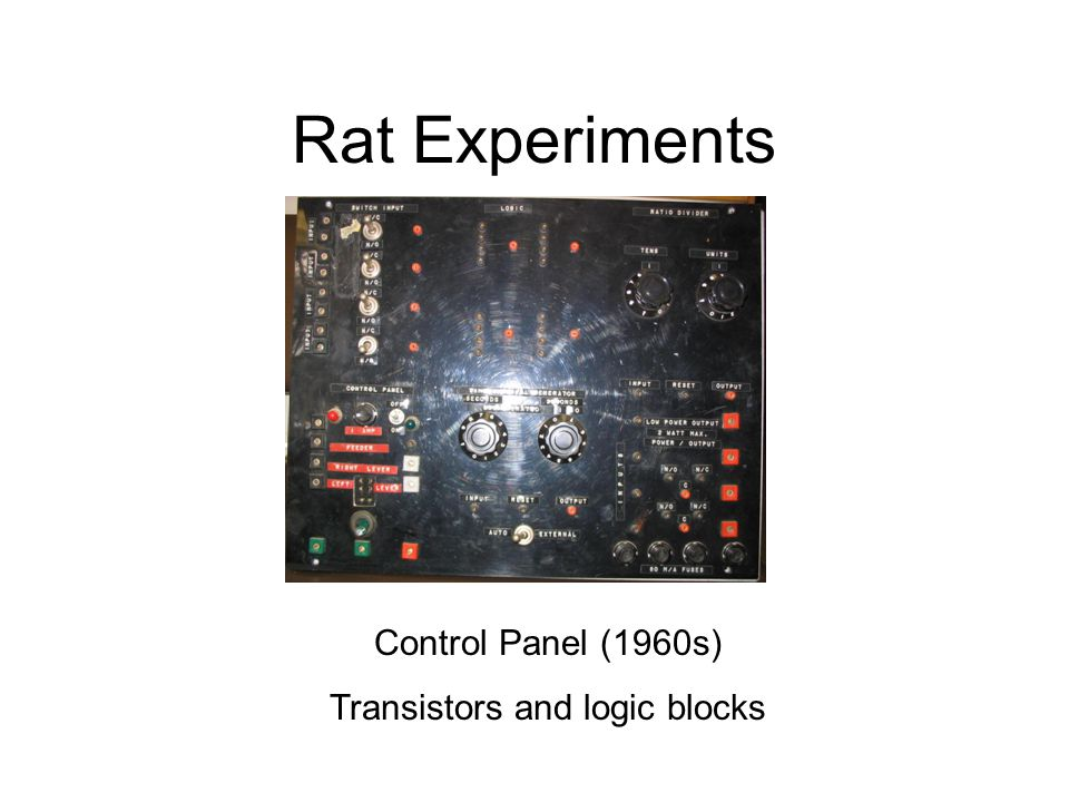 Rat Experiments Control Panel (1960s) Transistors and logic blocks