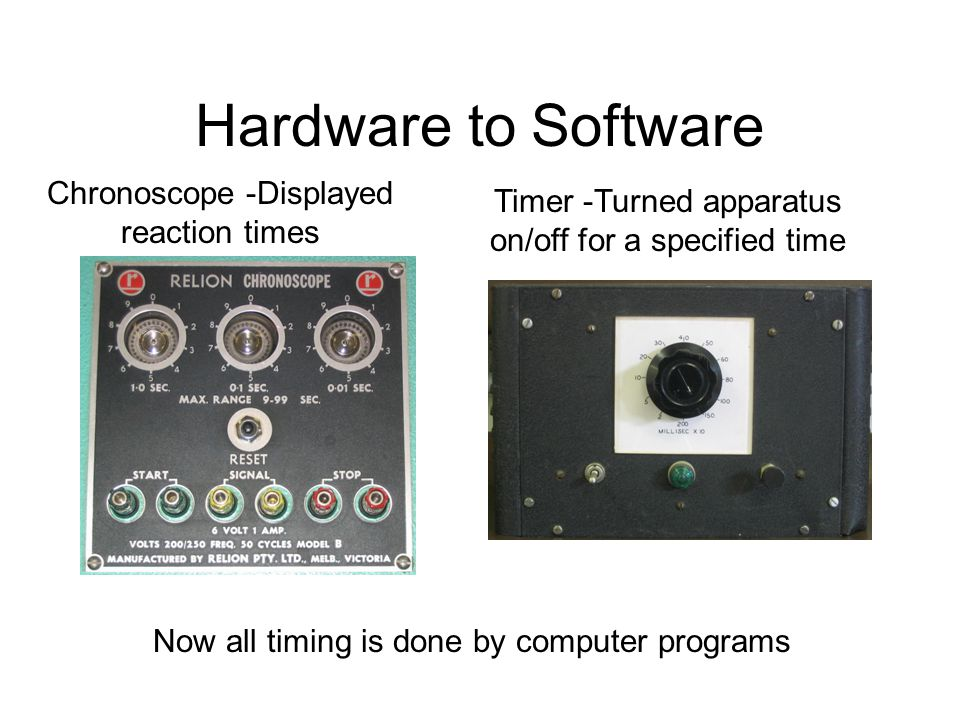 Hardware to Software Now all timing is done by computer programs Chronoscope -Displayed reaction times Timer -Turned apparatus on/off for a specified time