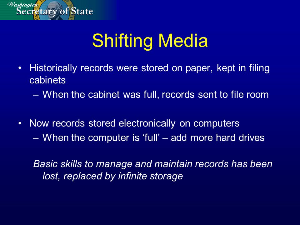 Shifting Media Historically records were stored on paper, kept in filing cabinets –When the cabinet was full, records sent to file room Now records st