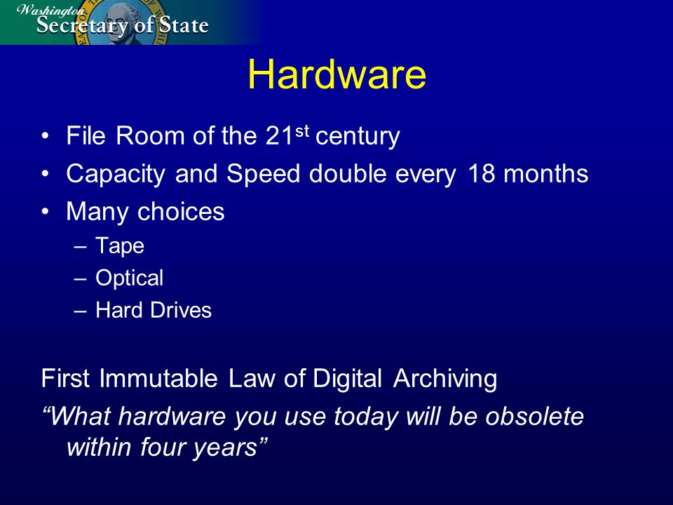 Hardware File Room of the 21 st century Capacity and Speed double every 18 months Many choices –Tape –Optical –Hard Drives First Immutable Law of Digital Archiving What hardware you use today will be obsolete within four years