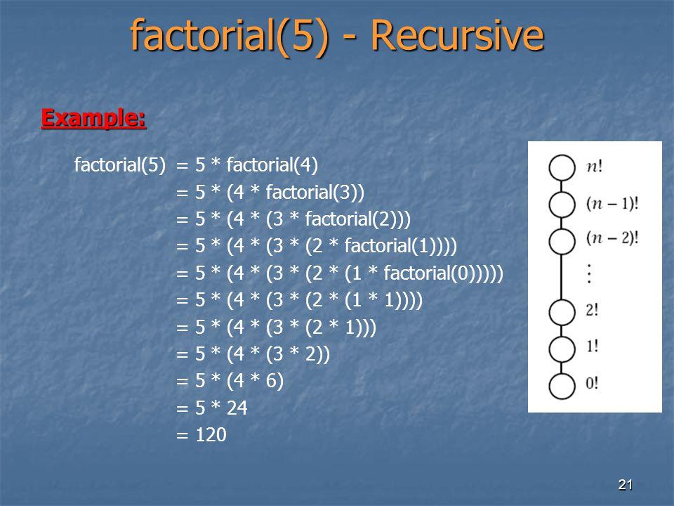 21 factorial(5) - Recursive Example: factorial(5)= 5 * factorial(4) = 5 * (4 * factorial(3)) = 5 * (4 * (3 * factorial(2))) = 5 * (4 * (3 * (2 * facto