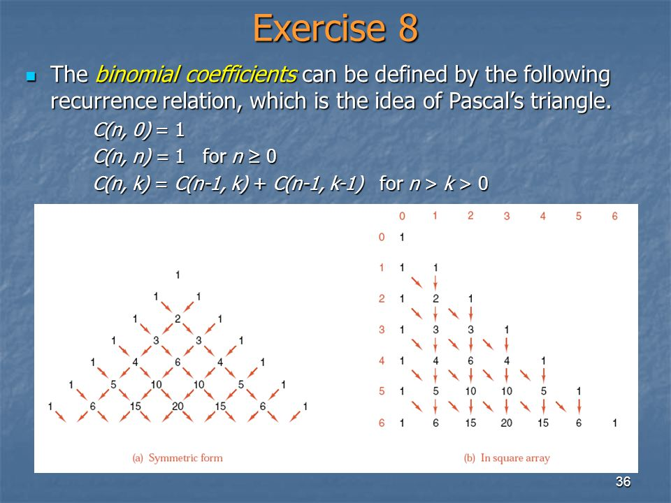 36 Exercise 8 The binomial coefficients can be defined by the following recurrence relation, which is the idea of Pascals triangle. The binomial coeff