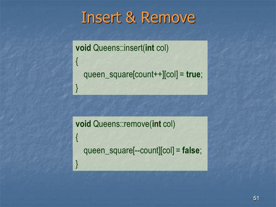 51 Insert & Remove void Queens::insert( int col) { queen_square[count++][col] = true ; } void Queens::remove( int col) { queen_square[--count][col] =
