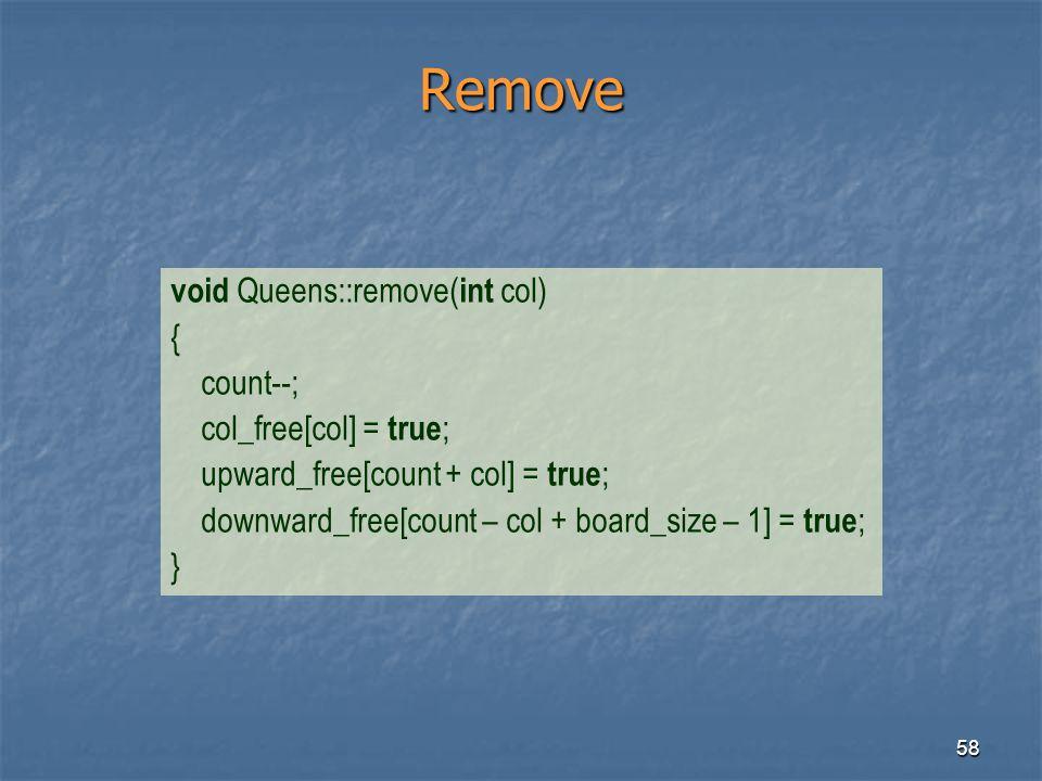 58 Remove void Queens::remove( int col) { count--; col_free[col] = true ; upward_free[count + col] = true ; downward_free[count – col + board_size – 1