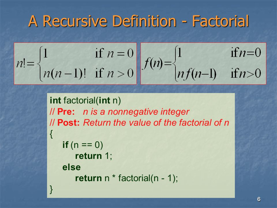 6 A Recursive Definition - Factorial int factorial(int n) // Pre: n is a nonnegative integer // Post: Return the value of the factorial of n { if (n =