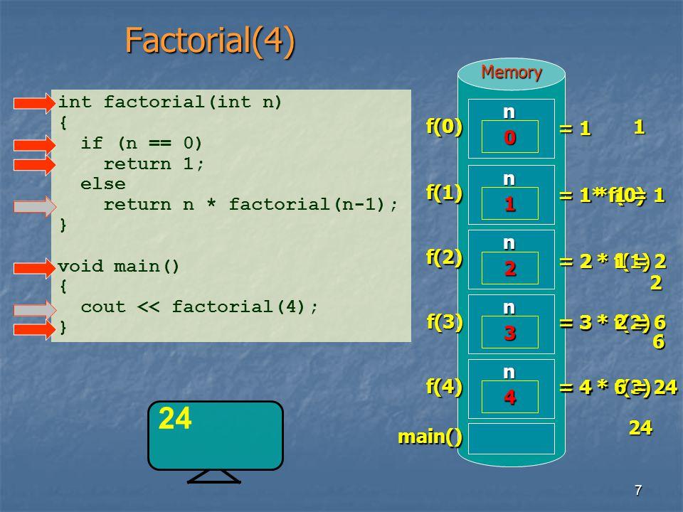 7MemoryFactorial(4) int factorial(int n) { if (n == 0) return 1; else return n * factorial(n-1); } void main() { cout << factorial(4); }main() 24 f(4)