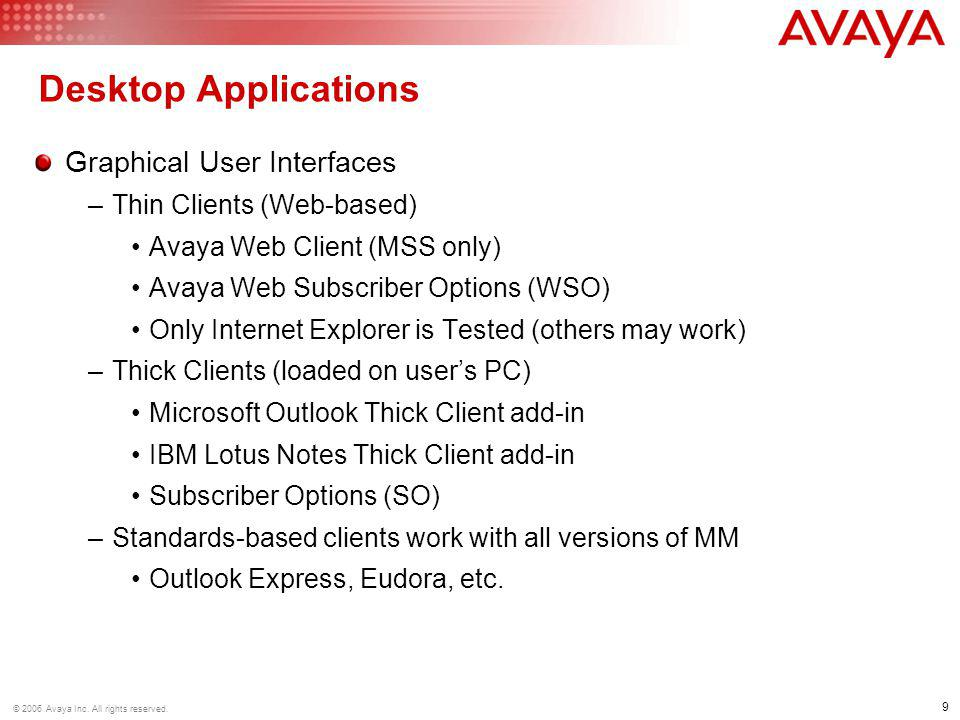 20 © 2006 Avaya Inc.All rights reserved.