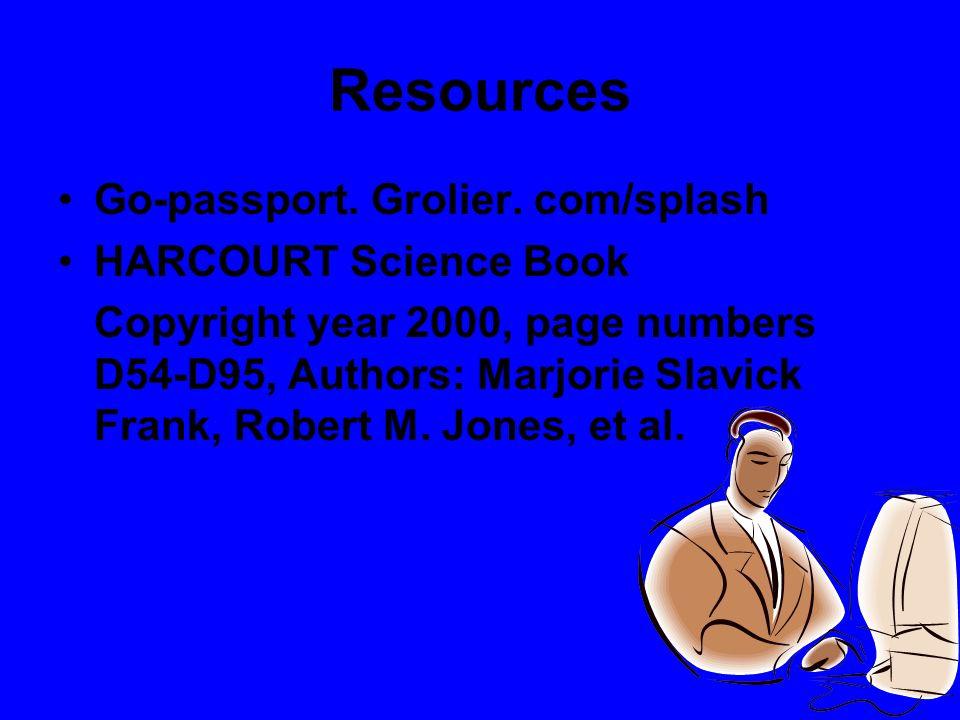 Resources Go-passport. Grolier. com/splash HARCOURT Science Book Copyright year 2000, page numbers D54-D95, Authors: Marjorie Slavick Frank, Robert M.