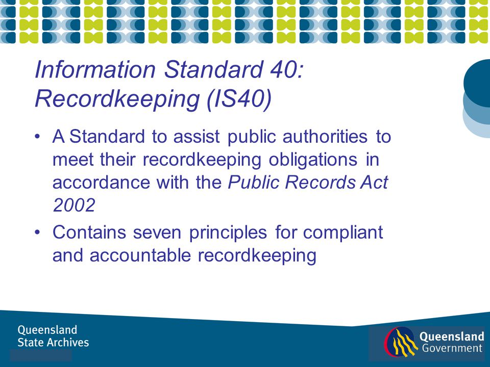 A Standard to assist public authorities to meet their recordkeeping obligations in accordance with the Public Records Act 2002 Contains seven principl