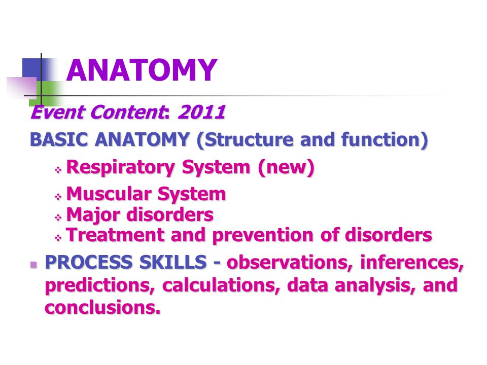 ANATOMY Event Content: 2011 BASIC ANATOMY (Structure and function) Respiratory System (new) Respiratory System (new) Muscular System Muscular System Major disorders Major disorders Treatment and prevention of disorders Treatment and prevention of disorders PROCESS SKILLS - observations, inferences, predictions, calculations, data analysis, and conclusions.