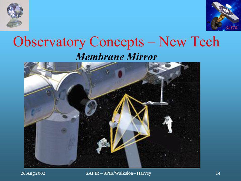 26 Aug 2002SAFIR – SPIE/Waikaloa – Harvey14 Observatory Concepts – New Tech Membrane Mirror