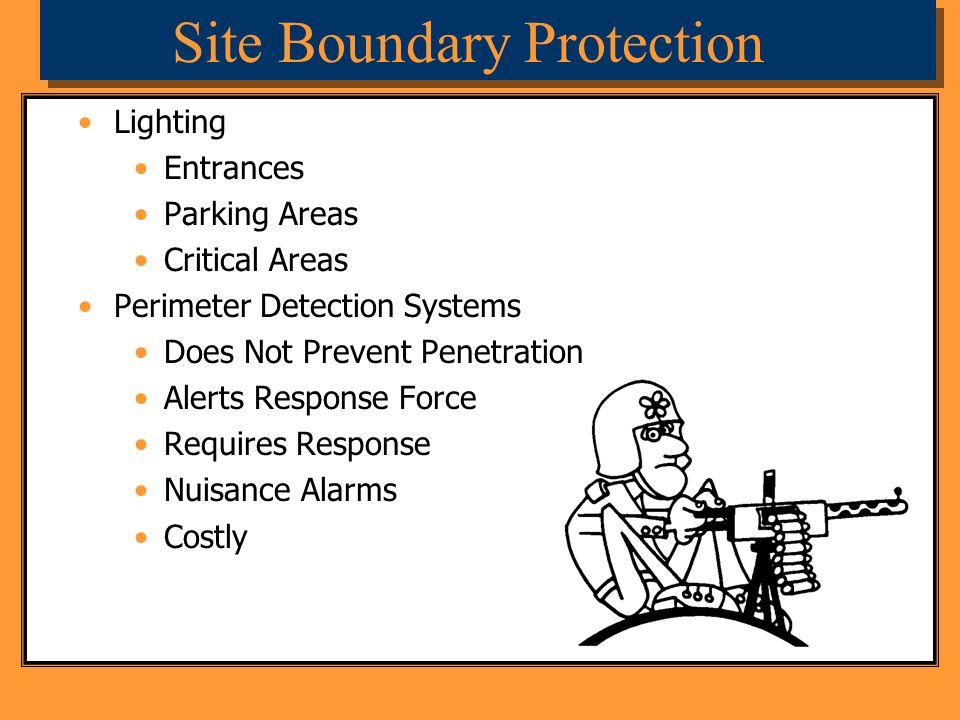 Site Boundary Protection Lighting Entrances Parking Areas Critical Areas Perimeter Detection Systems Does Not Prevent Penetration Alerts Response Forc