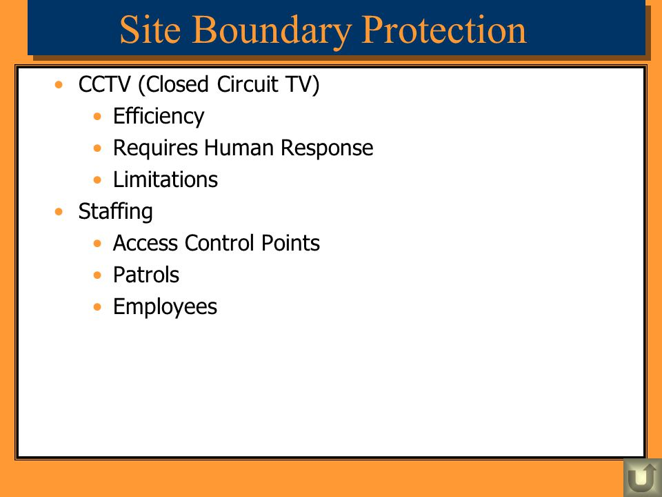 Site Boundary Protection CCTV (Closed Circuit TV) Efficiency Requires Human Response Limitations Staffing Access Control Points Patrols Employees