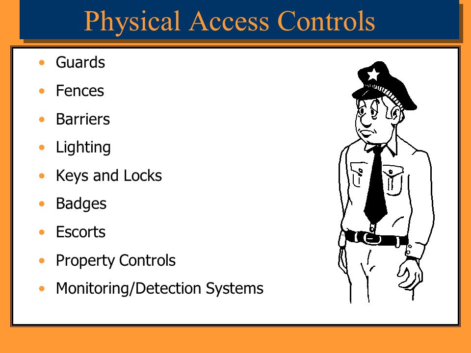 Physical Access Controls Guards Fences Barriers Lighting Keys and Locks Badges Escorts Property Controls Monitoring/Detection Systems